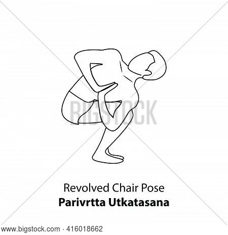 Man Practicing Yoga Pose Isolated Outline Illustration. Man Standing In Revolved Chair Pose Or Pariv