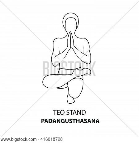 Man Practicing Yoga Pose Isolated Outline Illustration. Man Standing In Teo Stand Pose Or Padangusth