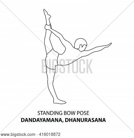 Man Practicing Yoga Pose Isolated Outline Illustration. Man Standing In Standing Bow Pose Dandayaman