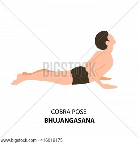 Man Practicing Yoga Pose Isolated Vector Illustration. Man Standing In Cobra Pose Or Bhujangasana, Y