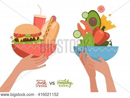Food Choice Concept. Two Hands With Healthy And Fresh Vegetables, Fish, Cheees And Junk Unhealthy Fa