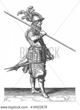 A Soldier , full-length, to the right, carrying a spear (lance) on his right shoulder, pointing the tip obliquely to the ground (No. 11), c. 1600. His right hand around the spear, vintage engraving.