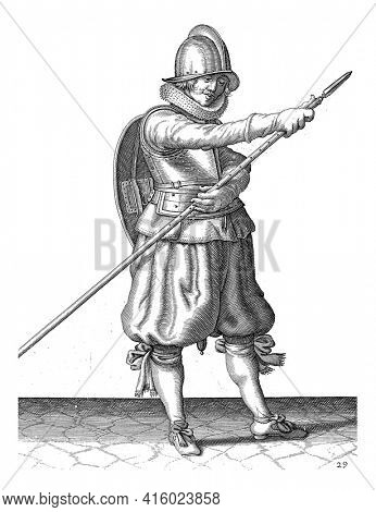 The exercise with shield and spear: the soldier reinserts the spear with two hands position, vintage engraving.