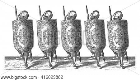 The exercise with the targe and rapier: five soldiers standing side by side in line with the targe and rapier in front of the chest and the left foot forward, 1618, vintage engraving.