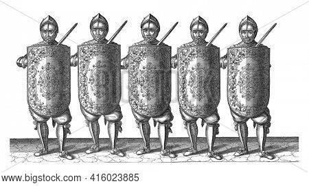 The exercise with the targe and rapier: five soldiers standing side by side in line with the targe and rapier in front of the chest, 1618, vintage engraving.