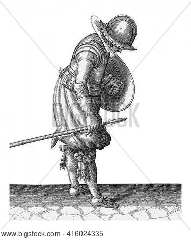 The exercise with shield and spear: the soldier puts the spear next to his right foot on the ground, vintage engraving.