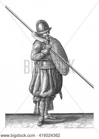 The exercise with shield and spear: the soldier holds the shield with the left hand in front of the body The body and the spear rest on the right shoulder, vintage engraving.