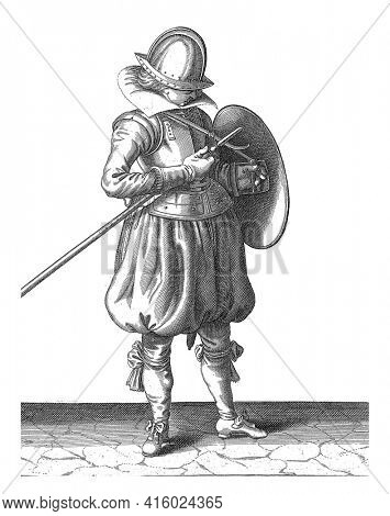 The exercise with shield and spear: the soldier keeps spear and shield close to the body, vintage engraving.