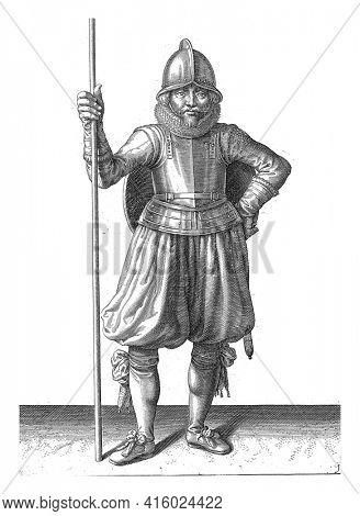 The exercise with shield and spear: the soldier stationary at rest after the exercise with the skewer in hand and the shield on the back, vintage engraving.
