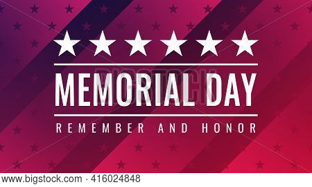Memorial Day - Remember And Honor Greeting Card With Inscription On Red Patriotic Background With St