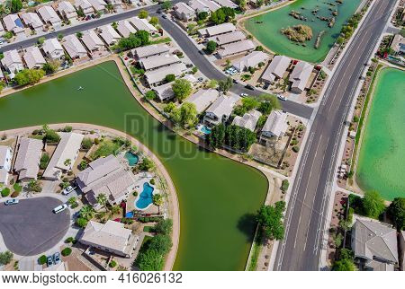 Many Small Ponds Near Avondale Small Town A View Overlooking Desert Near On Of State Capital Phoenix