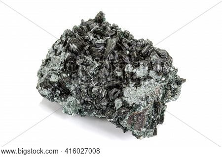 Macro Stone Apatite Mineral On White Background