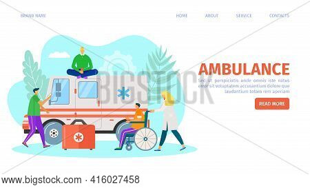 Ambulance Car, Landing Page Vector Illustration. Man People Character Near Emergency Transport, Medi