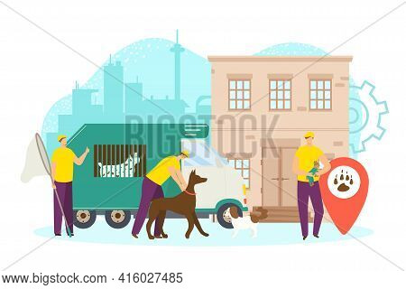 Agency For Stray Animal Control, Vector Illustration. Professional Worker Man Character Rescue Dogs