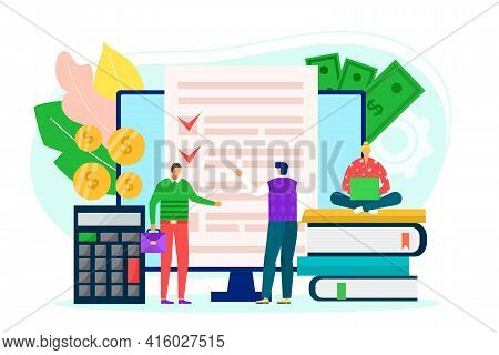 Budget Planning, Money Accounting, Vector Illustration. Person Character Use Computer, Calculator Fo