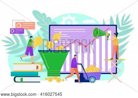 Business Idea, Cartoon Funnel For Finance Coin Heap, Vector Illustration. Man Woman People Character