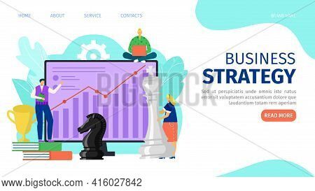 Business Strategy With Chess Figure Concept, Vector Illustration. Man Woman People Character In Busi