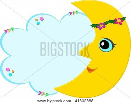 Sweet Moon with Message Bubble