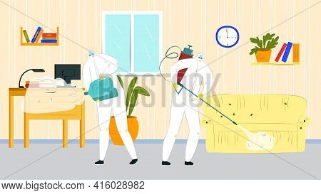 Pest Control, Chemical Spray Against Bug, Vector Illustration. Professional Worker Man In Uniform, M