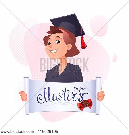 Young Girl Graduate With An Opened Certificate In His Hands And The Inscription Masters Degree. In A