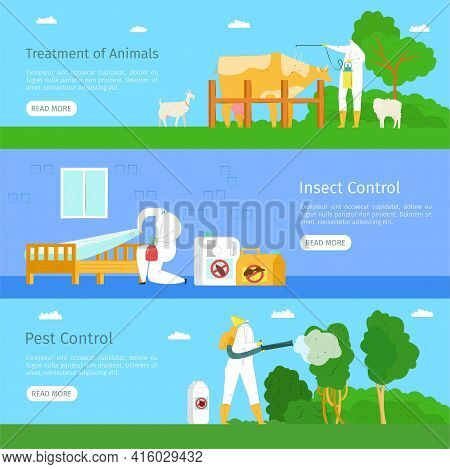 Pest, Insect Control And Animal Treatment, Web Banner Set, Vector Illustration. Man Worker Character