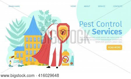 Pest, Insect Control Service, Landing Banner Vector Illustration. Cartoon Protection, Prevention Wit