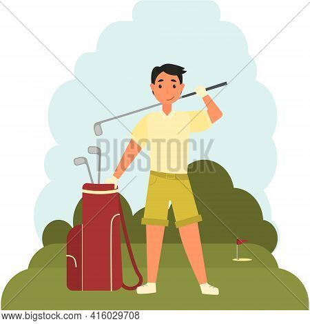 Young Man On A Golf Course, Holding A Cover With A Golf Club. Drawing Of A Professional Sportsman Go