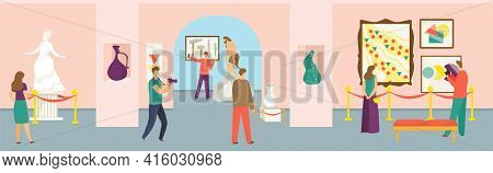 Museum Concept, Vector Illustration. Flat People Man Woman Character At Art Exhibition, Gallery Expo