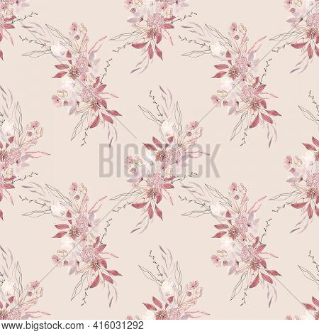 Seamless Background With White And Red Flower Doodles, Powder Pink Background. Luxury Pattern For Cr