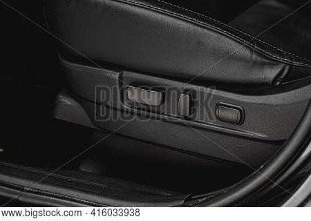 Electric Car Seat Adjustment Control Panel Close Up View. Adjustable Car Seat Position. Car Interior