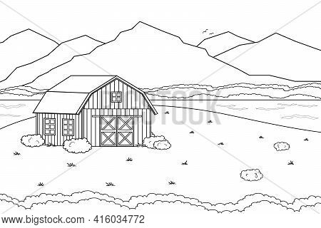 Black White Vector Outline Cartoon Summer Spring Landscape Countryside Scene With Field House River