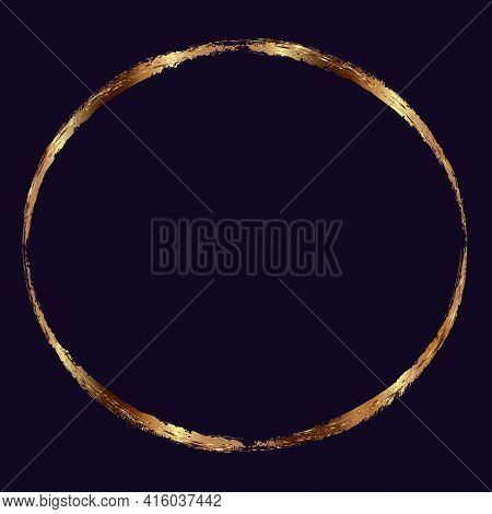 Vector Round Gold Frame With Glitter Effect On Dark Violet Background. Gold Or Copper Round Frame Wi