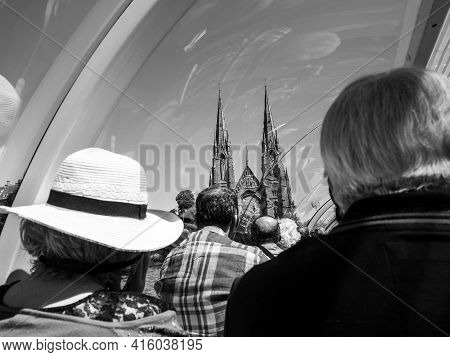 Strasbourg, France - June 18, 2018: Rear View Of Passengers Tourists. Sightseeing Through The Large