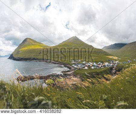 Faroe Islands Village Of Gjogv Or Gjov In Danish. Sea-filled Gorge On The Northeast Tip Of The Islan
