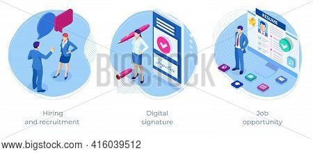 Isometric Hiring And Recruitment, Digital Signature, Job Opportunity. Hr Managers, Job Seekers, Resu