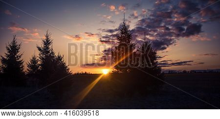 A Beautiful Sunny Spring Morning In Northern Europe. Springtime Scenery Of The Countryside. Morning