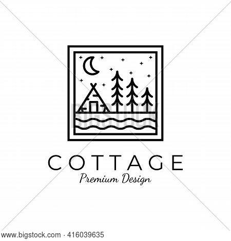 Winter Cottage Minimalist Line Art Badge Logo Template Vector Illustration Design. Simple Minimalist