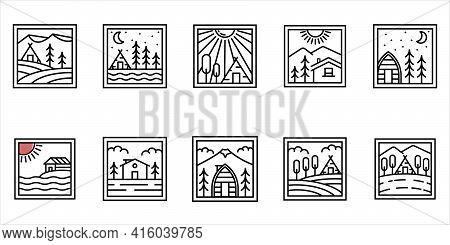 Set Of Cottage / Cabin Logo Minimalist Line Art Badge Logo Template Vector Illustration Design. Simp