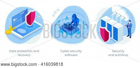 Isometric Online Information Protect, Internet Digital Technology. Digital Crime By An Anonymous Hac
