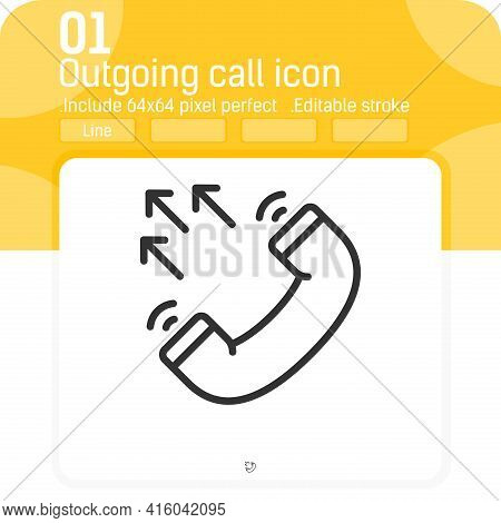 Outgoing Call Vector Icon With Outline Style Isolated On White Background. Vector Illustration Black
