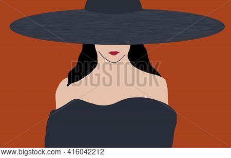 A Woman In A Fashionable Dress And Wide Brim Hat Is Seen In This Illustration About Modern Fashion D