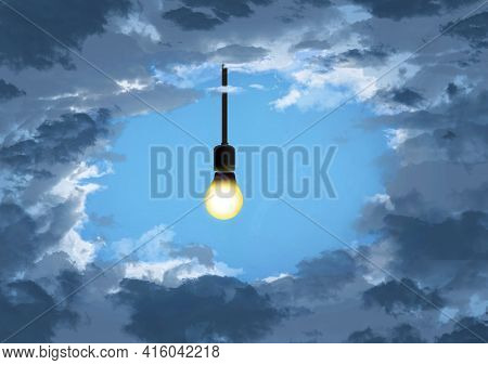 A Light Bulb On A Wire Hangs Down Through An Opening In The Clouds In This 3-d Illustration About So