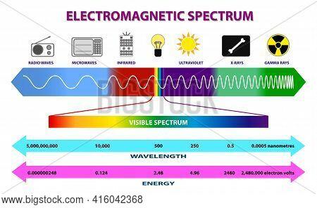 Set Of Electromagnetic Spectrum Diagram Or Radio Waves Spectrum Or Ultraviolet Light Diagram. Eps 10