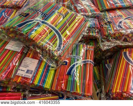 Belgrade, Serbia - January 31, 2021: Packs Of Drinking Plastic Straws For Sale In Wholesale. Single