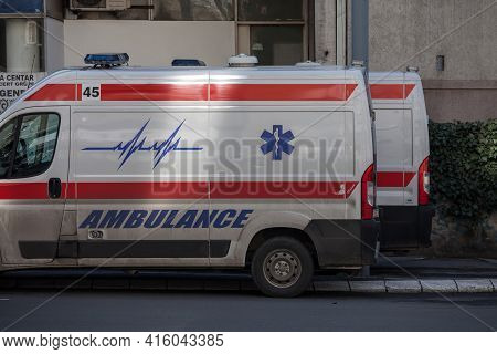 Belgarde, Serbia - March 13, 2021: Serbian Ambulance From The Hitna Pomoc Services, A Van, On Standb