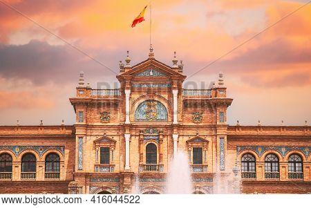 Seville, Spain. Famous Landmark - Plaza De Espana In Seville, Andalusia, Spain. Renaissance Revival