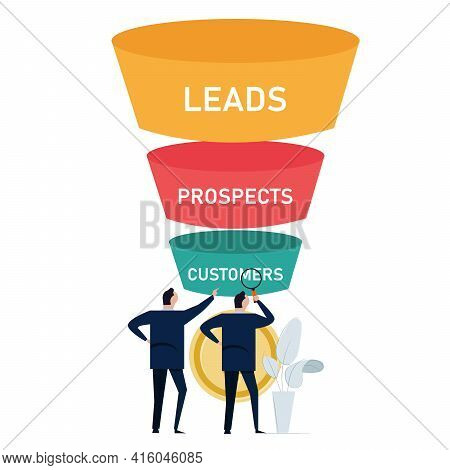 Optimize Sales Funnel Businessman Analyze Improve Business Conversion Marketing From Leads To Prospe