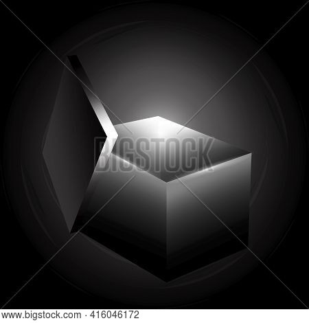 Light From Black Box In 3d Style On Black Background. Open Gift Box. Stock Image. Vector Illustratio