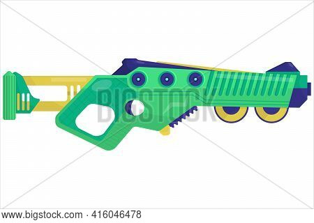 Vector Concept Illustration Of A Blaster. Weapons For Computer Games. Multi-colored Pistol Shooting