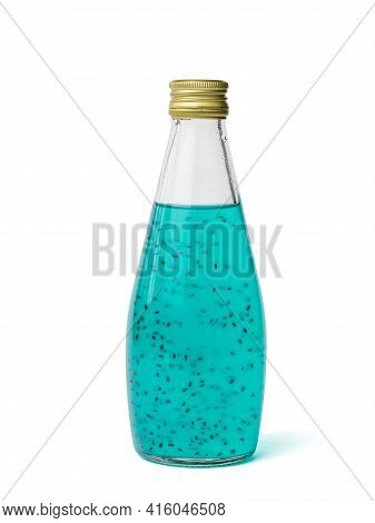 Glass Bottle With An Exotic Cocktail Isolated On A White Background. An Exotic Refreshing Drink.